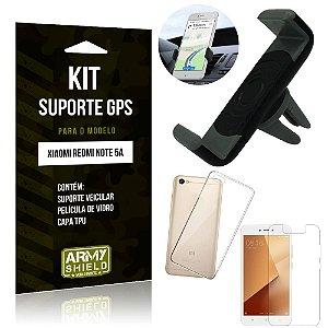 Kit Suporte Veicular Xiaomi Redmi Note 5A Suporte + Capa + Película de Vidro - Armyshield