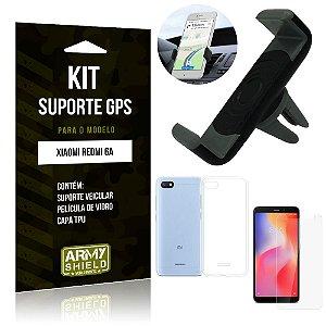Kit Suporte Veicular Xiaomi Redmi 6A Suporte + Capa + Película de Vidro - Armyshield