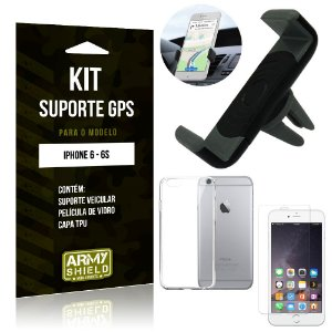 Kit Suporte Veicular Apple iPhone 6/6S Suporte + Capa + Película de Vidro - Armyshield