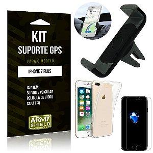 Kit Suporte Veicular Apple iPhone 7 Plus Suporte + Capa + Película de Vidro - Armyshield