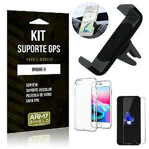 Kit Suporte Veicular Apple iPhone 8 Suporte + Capa + Película de Vidro - Armyshield