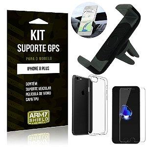Kit Suporte Veicular Apple iPhone 8 Plus Suporte + Capa + Película de Vidro - Armyshield