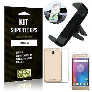 Kit Suporte Veicular Lenovo  K6 Suporte + Capa + Película de Vidro - Armyshield