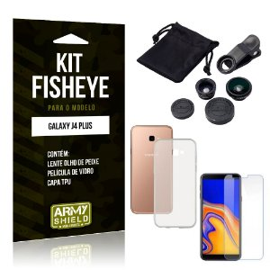 Kit Fisheye Samsung Galaxy J4 Plus Lente Fisheye + Capa + Película de Vidro - Armyshield