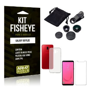Kit Fisheye Samsung Galaxy J6 Plus Lente Fisheye + Capa + Película de Vidro - Armyshield