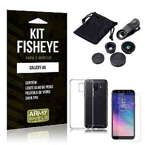 Kit Fisheye Samsung Galaxy A6 Lente Fisheye + Capa + Película de Vidro - Armyshield