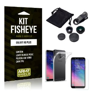 Kit Fisheye Samsung Galaxy A6 Plus Lente Fisheye + Capa + Película de Vidro - Armyshield
