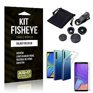 Kit Fisheye Samsung Galaxy A9 2018 Lente Fisheye + Capa + Película de Vidro - Armyshield