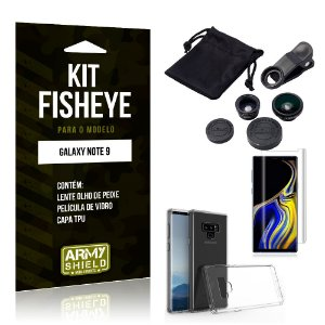 Kit Fisheye Samsung Galaxy Note 9 Lente Fisheye + Capa + Película de Vidro - Armyshield