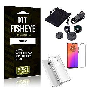 Kit Fisheye Motorola Moto G7 Lente Fisheye + Capa + Película de Vidro - Armyshield