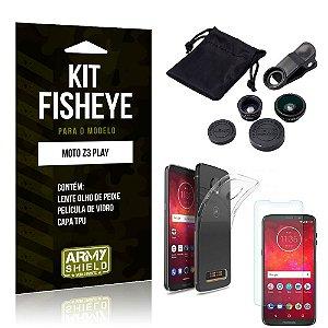 Kit Fisheye Motorola Moto Z3 Play Lente Fisheye + Capa + Película de Vidro - Armyshield