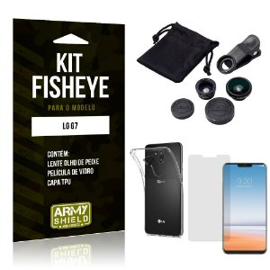 Kit Fisheye LG  G7 Lente Fisheye + Capa + Película de Vidro - Armyshield