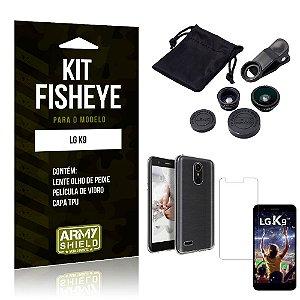 Kit Fisheye LG  K9 Lente Fisheye + Capa + Película de Vidro - Armyshield
