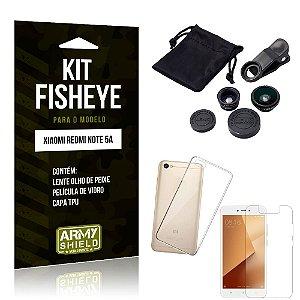 Kit Fisheye Xiaomi Redmi Note 5A Lente Fisheye + Capa + Película de Vidro - Armyshield