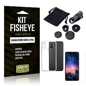 Kit Fisheye Xiaomi Redmi Note 6 Pro Lente Fisheye + Capa + Película de Vidro - Armyshield