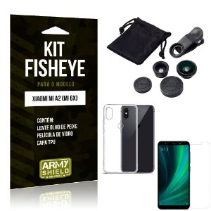 Kit Fisheye Xiaomi Mi A2 Lente Fisheye + Capa + Película de Vidro - Armyshield