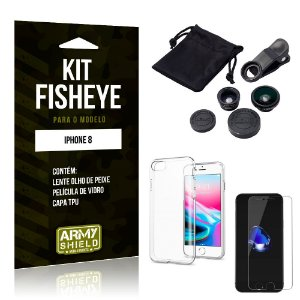 Kit Fisheye Apple iPhone 8 Lente Fisheye + Capa + Película de Vidro - Armyshield