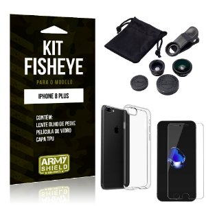 Kit Fisheye Apple iPhone 8 Plus Lente Fisheye + Capa + Película de Vidro - Armyshield