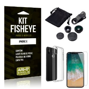 Kit Fisheye Apple iPhone X Lente Fisheye + Capa + Película de Vidro - Armyshield