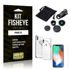 Kit Fisheye Apple iPhone XS Lente Fisheye + Capa + Película de Vidro - Armyshield