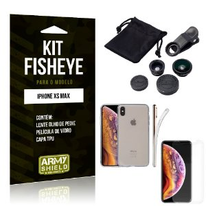 Kit Fisheye Apple iPhone XS Max Lente Fisheye + Capa + Película de Vidro - Armyshield