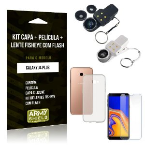 Kit Fisheye com Flash Samsung Galaxy J4 Plus Fisheye Flash + Capa + Película de Vidro - Armyshield