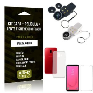 Kit Fisheye com Flash Samsung Galaxy J6 Plus Fisheye Flash + Capa + Película de Vidro - Armyshield
