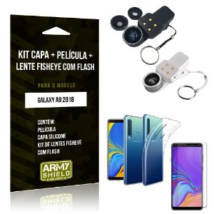 Kit Fisheye com Flash Samsung Galaxy A9 2018 Fisheye Flash + Capa + Película de Vidro - Armyshield