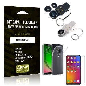 Kit Fisheye com Flash Motorola Moto G7 Play Fisheye Flash + Capa + Película de Vidro - Armyshield