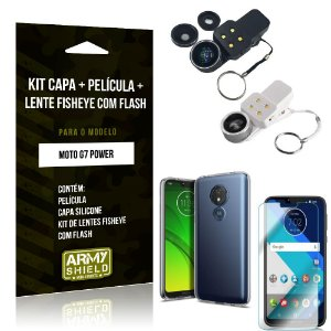 Kit Fisheye com Flash Motorola Moto G7 Power Fisheye Flash + Capa + Película de Vidro - Armyshield
