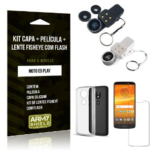Kit Fisheye com Flash Motorola Moto E5 Play Fisheye Flash + Capa + Película de Vidro - Armyshield