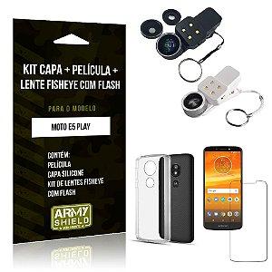 Kit Fisheye com Flash Motorola Moto E5 Play Fisheye Flash + Capa + Película de Vidro - Armyshield