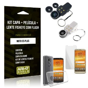 Kit Fisheye com Flash Motorola Moto E5 Plus Fisheye Flash + Capa + Película de Vidro - Armyshield
