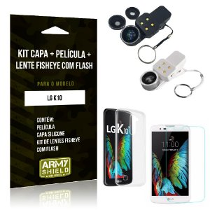 Kit Fisheye com Flash LG  K10 Fisheye Flash + Capa + Película de Vidro - Armyshield