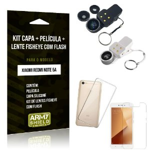 Kit Fisheye com Flash Xiaomi Redmi Note 5A Fisheye Flash + Capa + Película de Vidro - Armyshield