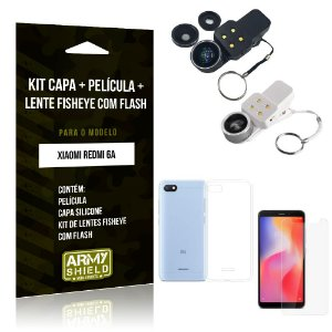 Kit Fisheye com Flash Xiaomi Redmi 6A Fisheye Flash + Capa + Película de Vidro - Armyshield