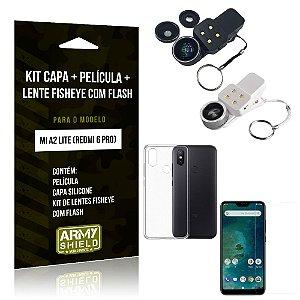 Kit Fisheye com Flash Xiaomi Mi A2 Lite Fisheye Flash + Capa + Película de Vidro - Armyshield