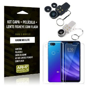 Kit Fisheye com Flash Xiaomi Mi 8 Lite Fisheye Flash + Capa + Película de Vidro - Armyshield
