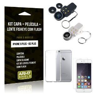Kit Fisheye com Flash iPhone 6 Plus/6S Plus Fisheye Flash + Capa + Película de Vidro - Armyshield