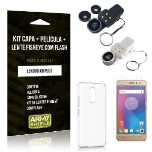 Kit Fisheye com Flash Lenovo  K6 Plus Fisheye Flash + Capa + Película de Vidro - Armyshield