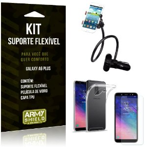 Kit Suporte Flexível Samsung Galaxy A6 Plus Suporte + Capa + Película de Vidro - Armyshield