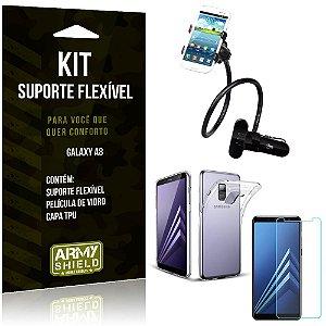 Kit Suporte Flexível Samsung Galaxy A8 Suporte + Capa + Película de Vidro - Armyshield