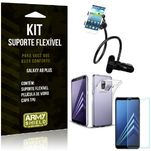 Kit Suporte Flexível Samsung Galaxy A8 Plus Suporte + Capa + Película de Vidro - Armyshield