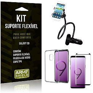 Kit Suporte Flexível Samsung Galaxy S9 Suporte + Capa + Película de Vidro - Armyshield