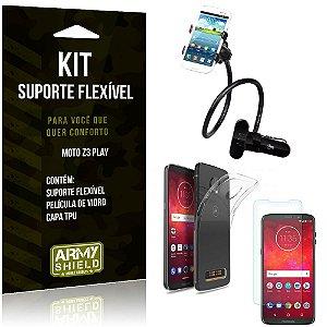 Kit Suporte Flexível Motorola Moto Z3 Play Suporte + Capa + Película de Vidro - Armyshield