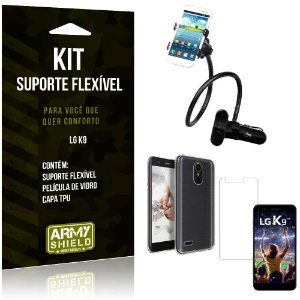 Kit Suporte Flexível LG  K9 Suporte + Capa + Película de Vidro - Armyshield