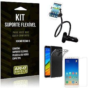 Kit Suporte Flexível Xiaomi Redmi 5 Suporte + Capa + Película de Vidro - Armyshield