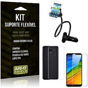 Kit Suporte Flexível Xiaomi Redmi 5 Plus Suporte + Capa + Película de Vidro - Armyshield