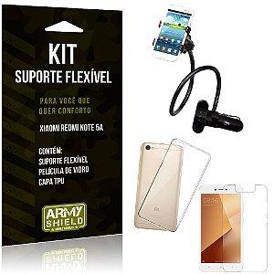 Kit Suporte Flexível Xiaomi Redmi Note 5A Suporte + Capa + Película de Vidro - Armyshield