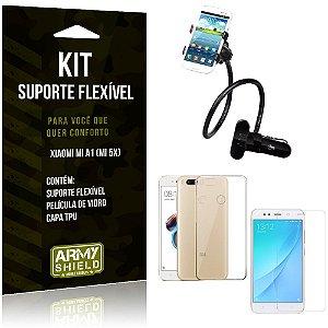 Kit Suporte Flexível Xiaomi Mi A1 Suporte + Capa + Película de Vidro - Armyshield
